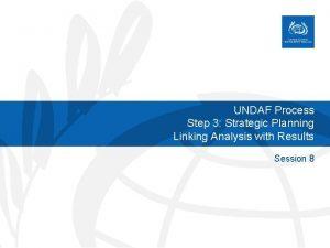 UNDAF Process Step 3 Strategic Planning Linking Analysis