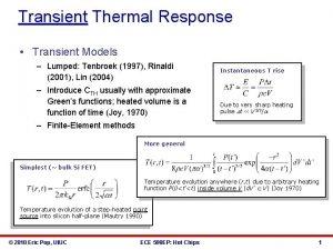 Transient Thermal Response Transient Models Lumped Tenbroek 1997