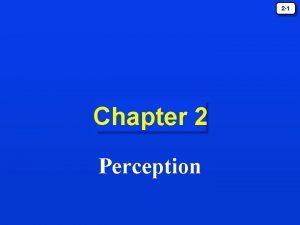 2 1 Chapter 2 Perception 2 2 Perception