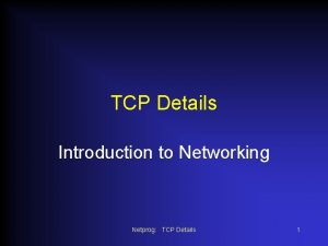 TCP Details Introduction to Networking Netprog TCP Details