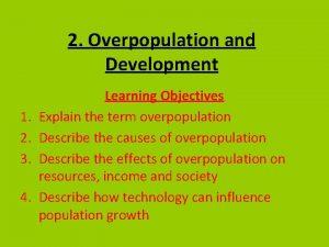 2 Overpopulation and Development 1 2 3 4