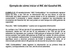 Ejemplo de cmo iniciar el RIC del Gasohol