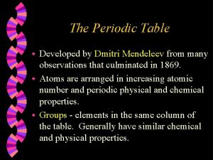 The Periodic Table Developed by Dmitri Mendeleev from