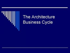 The Architecture Business Cycle Software Architecture Definition The