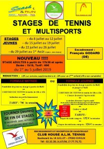 STAGES DE TENNIS ET MULTISPORTS STAGES JEUNES du