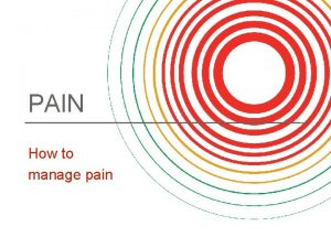 PAIN How to manage pain About pain Pain