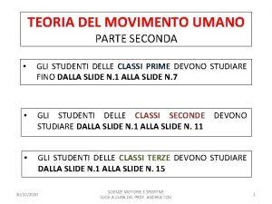 TEORIA DEL MOVIMENTO UMANO PARTE SECONDA GLI STUDENTI