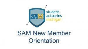 SAM New Member Orientation Agenda Actuarial Profession Recap