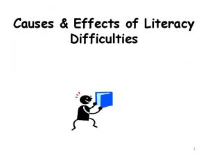 Causes Effects of Literacy Difficulties 1 Causes Effects