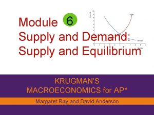 Module 6 Supply and Demand Supply and Equilibrium