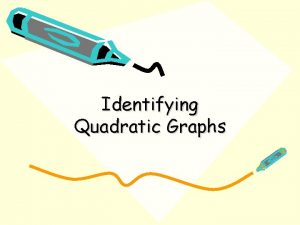 Identifying Quadratic Graphs positive quadratic y x 2