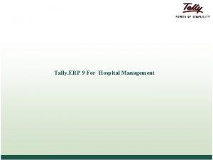 Tally ERP 9 For Hospital Management Agenda Hospital