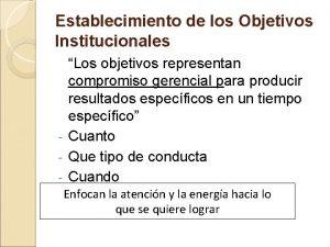 Establecimiento de los Objetivos Institucionales Los objetivos representan