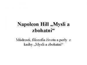 Napoleon Hill Mysli a zbohatni Mdrosti filozofia ivota