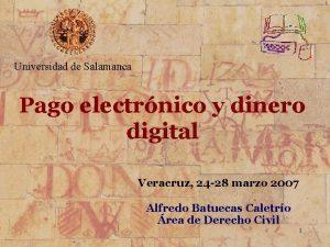 Universidad de Salamanca Pago electrnico y dinero digital