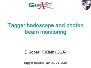 Tagger hodoscope and photon beam monitoring D Sober