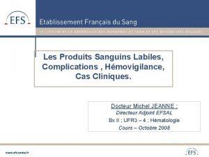Les Produits Sanguins Labiles Complications Hmovigilance Cas Cliniques