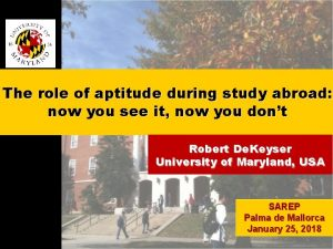 The role of aptitude during study abroad now