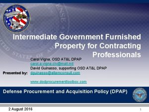 Intermediate Government Furnished Property for Contracting Professionals Carol