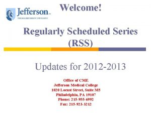Welcome Regularly Scheduled Series RSS Updates for 2012