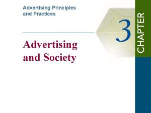 Advertising Principles and Practices Advertising and Society 1
