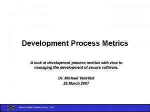 Development Process Metrics A look at development process