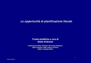 Le opportunit di pianificazione fiscale Tavole sinottiche a