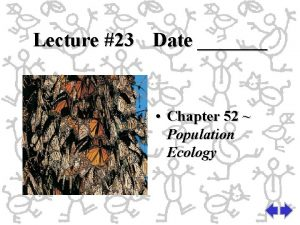 Lecture 23 Date Chapter 52 Population Ecology Population