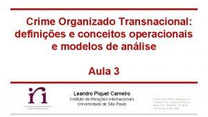 Crime Organizado Transnacional definies e conceitos operacionais e