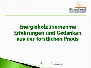 Energieholzbernahme Erfahrungen und Gedanken aus der forstlichen Praxis