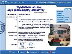 VCT Wirtualna Wizyta w Klasie ITN Spoeczno Innowacyjnych