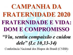 CAMPANHA DA FRATERNIDADE 2020 FRATERNIDADE E VIDA DOM