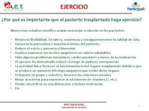 EJERCICIO Por qu es importante que el paciente