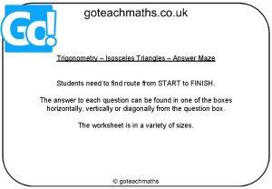 Trigonometry Isosceles Triangles Answer Maze Students need to