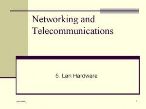 Networking and Telecommunications 5 Lan Hardware 10302020 1