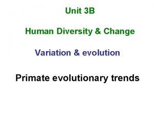 Unit 3 B Human Diversity Change Variation evolution