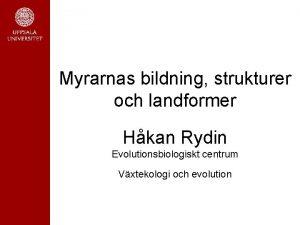 Myrarnas bildning strukturer och landformer Hkan Rydin Evolutionsbiologiskt