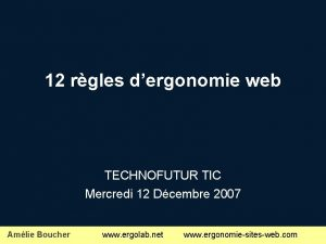 12 rgles dergonomie web TECHNOFUTUR TIC Mercredi 12