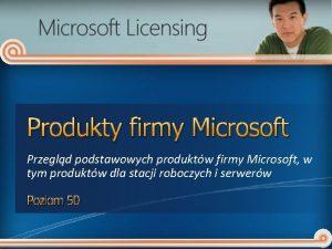 Produkty firmy Microsoft Przegld podstawowych produktw firmy Microsoft