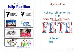 Islip Newsletter Roll up roll up for the