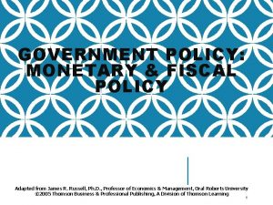 GOVERNMENT POLICY MONETARY FISCAL POLICY Adapted from James