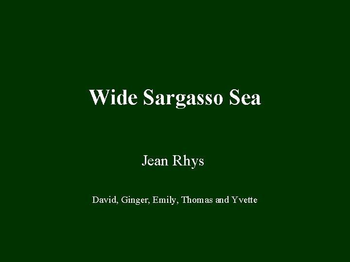 Wide Sargasso Sea Jean Rhys David Ginger Emily