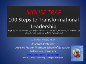 MOUSE TRAP 100 Steps to Transformational Leadership Setting