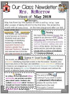Mrs Mc Morrow Week of May 2018 May