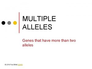 MULTIPLE ALLELES Genes that have more than two