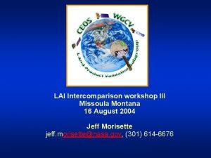 LAI Intercomparison workshop III Missoula Montana 16 August