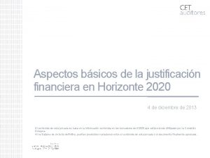 Aspectos bsicos de la justificacin financiera en Horizonte
