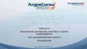 AUDITORIA FORENSE GUBERNAMENTAL MODULO VI SEMINARIO DE CONTABILIDAD