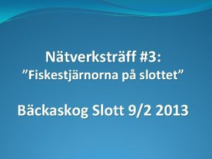 Ntverkstrff 3 Fiskestjrnorna p slottet Bckaskog Slott 92