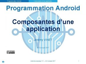 Programmation Android Composantes dune application Jrmy VINET IEConcept